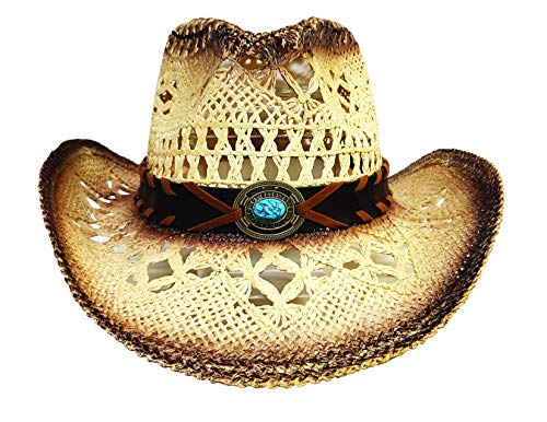 Men's & Women's Western Style Cowboy/Cowgirl Toyo Straw Hat (Tea Stain/Turquoise)