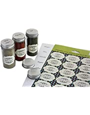 Royal Green - 2 Sets of Pre-Printed Spices Stickers for jar container and lids plus blank labels for DIY – 92 Pack