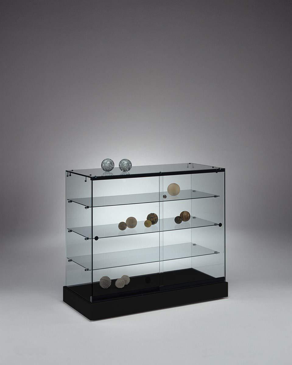 MHN breite Halbhohe Ausstellungsvitrine abschließbar - Design Glasvitrine Schwarzmit LED Beleuchtung rollbar 100 cm breit