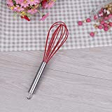 Femora Silicone Premium Egg Whisk with Grip Handle, Red, 1 Year Warranty