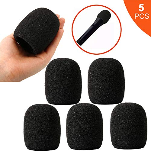5PCS Foam Microphone Cover, Premium Windscreen Handheld Stage Ball-Type Mic Cover Foam by Etenli (Microphone Covers Foam)