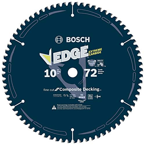 - Bosch DCB1072CD 10 In. 72 Tooth Edge Circular Saw Blade for Composite Decking