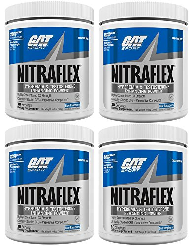 GAT Nitraflex Pre Workout 300gram, 30Sx4 PACKS (Blue Raspberry) by Nitraflex