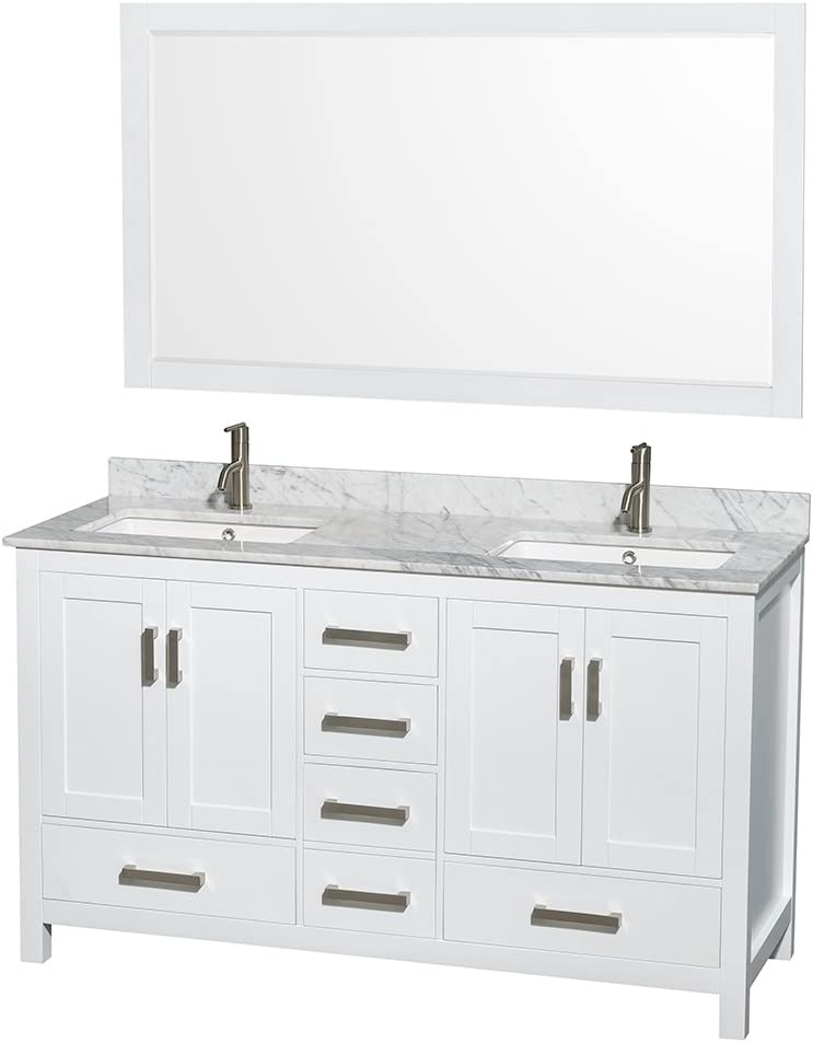 Wyndham Collection Sheffield 60 inch Double Bathroom Vanity in White, White Carrara Marble Countertop, Undermount Square Sinks, and 58 inch Mirror