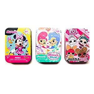 3 Collectible Girls Mini Jigsaw Puzzles in Travel Tin Cases: Disney Junior Minnie Mouse, Shimmer and Shine, and Other Favorite Characters (24 Pieces)