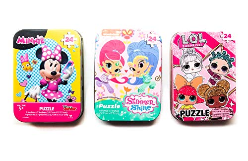 3 Collectible Girls Mini Jigsaw Puzzles in Travel Tin Cases: Disney Junior Minnie Mouse, Shimmer and Shine, and Other Favorite Characters (24 Pieces) -