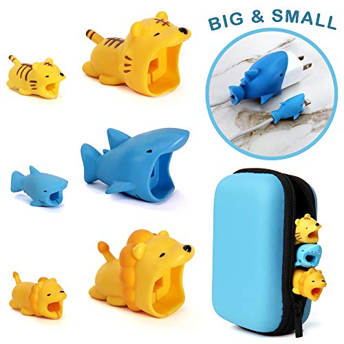Animal Buddies Phone Cord Bites - Cable Protector for iPhone - Cute Animals Protects Cell Phone Accessories & Bites Data Line - Bite Cord Phone Accessory (7 Pieces w/Pouch)