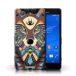 STUFF4 Phone Case / Cover for Sony Xperia Z3 Compact / Wolf-Colour Design / Aztec Animal Design Collection