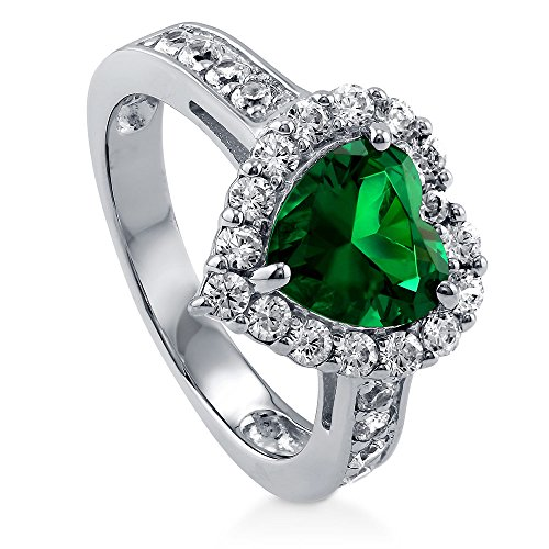 BERRICLE Rhodium Plated Sterling Silver Simulated Emerald Heart Shaped Cubic Zirconia CZ Halo Engagement Ring 2.43 CTW Size 7 (Emerald 3mm Accented Ring Setting)