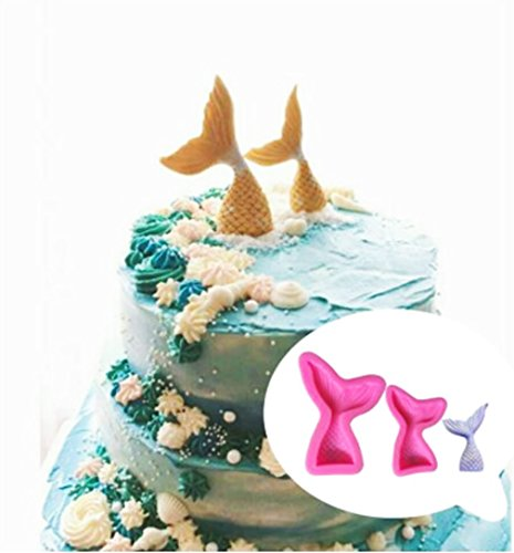 Mermaid Tail Fondant Cake Mould Food Grade Silicone Mold for Cupcake Topper