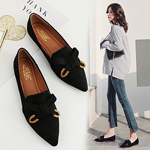 Zapatos Negro Qiqi Calzado Xue Solo Ocio con traficando en Mujer Plano de Pajarita Sugerencia de con Plano Femeninos Vista Zapatos Zapatos Patadas Uxxqw1fdWS
