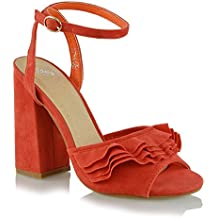 ESSEX GLAM Womens Block Heels Ankle Strap Ruffle Faux Suede Peep Toe Frill Sandals