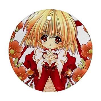 Amazon.de: Anime Girl Blumen Ornament rund Porzellan Weihnachten ...