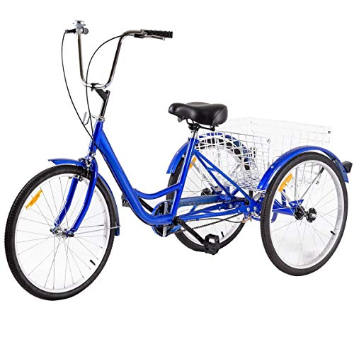 Goplus Adult Tricycle 3-Wheel Bicycle Single Speed Bike Seat Adjustable Trike with Bell, Brake System and Basket (24-Inch, Blue)