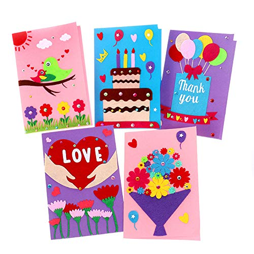 Card Making Kits DIY Handmade Greeting Card Kits for Kids, Christmas Card Folded Cards and Matching Envelopes Thank You Card Art Crafts Crafty Set Gifts for Girls Boys (Greeting Cards For Valentine)
