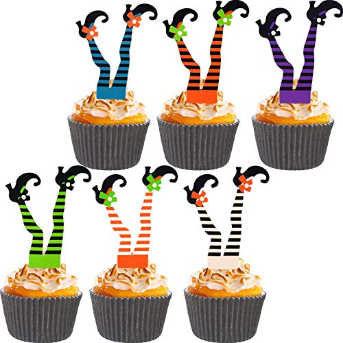 Cupcake Decorations For Halloween (Jetec 74 Pieces Halloween Witch's Boot Paper Cupcake Toppers and Cake Cups for Halloween Party Decoration)
