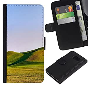 Billetera de Cuero Caso Titular de la tarjeta Carcasa Funda para Samsung Galaxy S6 SM-G920 / Nature Beautiful Forrest Green 152 / STRONG
