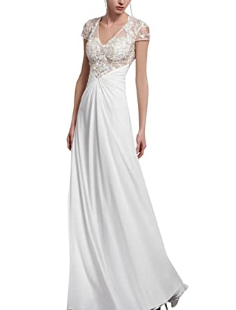 Kingmalls Womens White V-Neck Beaded Prom Gowns Dress (XX-Large)