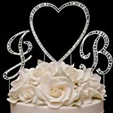 RaeBella Weddings Silver Vintage Style Swarovski Crystal Monogram Heart Wedding Cake Topper 3pc Letter Initial Set + White Metal LOVE Design Frame