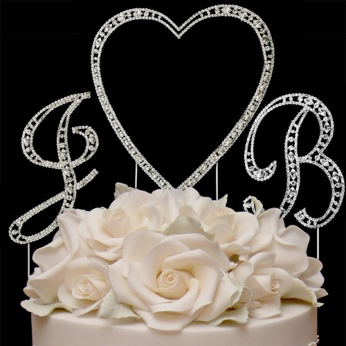 RaeBella Weddings Silver Vintage Style Swarovski Crystal Monogram Heart Wedding Cake Topper 3pc Letter Initial Set + White Metal LOVE Design Frame by RaeBella Weddings & Events New York