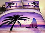 Alicemall-Purple-3D-Bedding-Twin-Size-100-Cotton-Palm-Beach-Sea-of-Love-4-Piece-Purple-Bedding-Sets-3D-Beach-4-PCS-Duvet-Cover-Sets-No-Comforter-Twin
