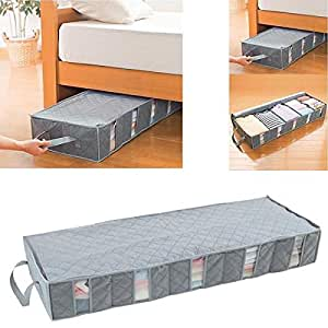 ounona 53l foldable clothes storage bags under bed storage containers space saver. Black Bedroom Furniture Sets. Home Design Ideas