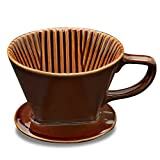 Asmwo Brown Ceramic Wide 4 Cups Coffee Dripper Single-Serving Coffee filter Pour Over Kit