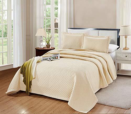 GrandLinen 3-Piece Bedding Naples Quilt Set Solid Light Ivory Queen/Full Size 90