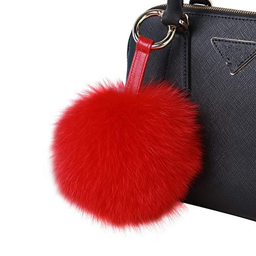 - Roniky Newest Large Genuine Fox Fur Pom Pom Keychain Bag Purse Charm Gold Ring Fluffy Fur Ball (5.9