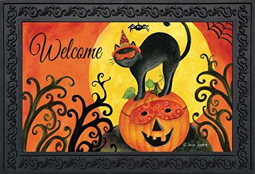 (Briarwood Lane Black Cat Halloween Doormat Jack O'Lantern Primitive 18