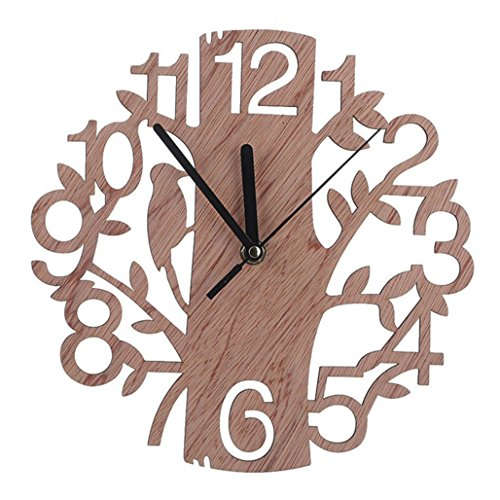 HEART SPEAKER Modern 3D Wooden Tree and Bird Wall Clock Analog Living Room Home Office Decor