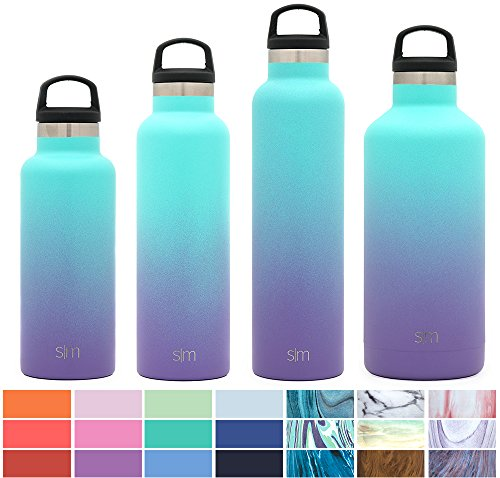 Simple Modern 32oz Ascent Water Bottle - Stainless Steel Hydro Swell Flask w/Handle Lid - Metal Double Wall Vacuum Insulated Reusable Tumbler Aluminum 1 Liter Cold Leak Proof - Tropical Seas by Simple Modern