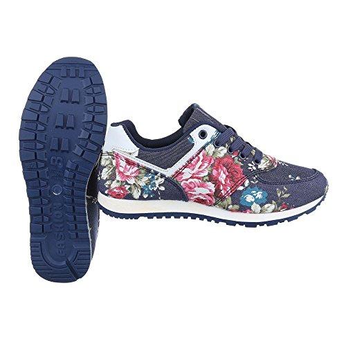 Ital-Design - zapatos de tiempo libre Mujer Blau Rosa BL176