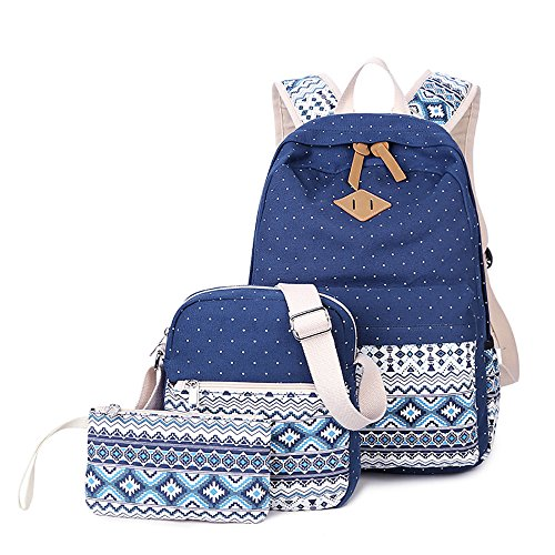 Backpack Set 3 Pieces Canvas Laptop Casual Travel School Bag for Teens Girls ()