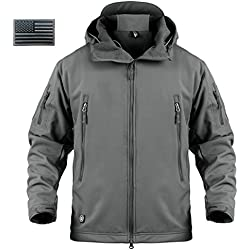ReFire Gear Mens Army Special Ops Military Tactical Jacket Softshell Fleece Hooded Outdoor Coat,Medium,Gray