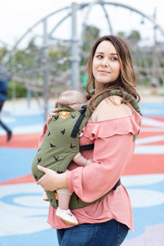 Baby Tula Free-to-Grow Baby Carrier, Adjustable Newborn to Toddler Carrier, Ergonomic and Multiple Positions for 7 - 45 pounds - Soar (Olive Green and Black Birds)