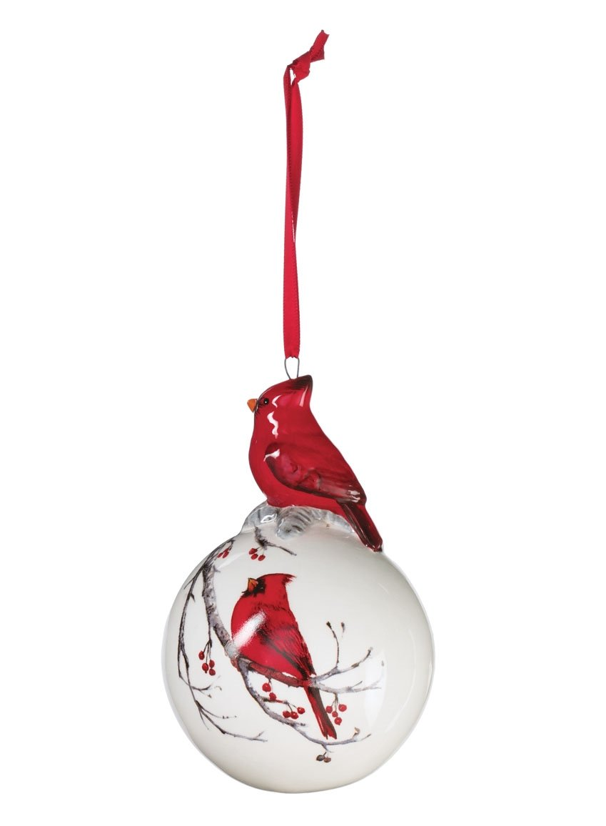 Sullivans - 4.75'' White Christmas Tree Ball Ornament with Decorated Red Cardinal on Top and Painted Cardinal on a Branch