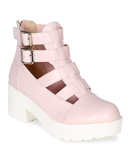 BF10 Women Leatherette Round Toe Buckle Strap Bootie - Pink