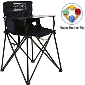 ciao baby - Portable High Chair with Rattle Teether Toy - Navy