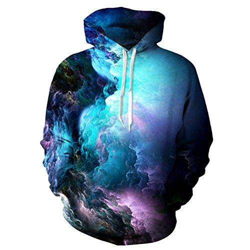 Uideazone 3d Nebula Star Cluster Pullover Hooded Sweatshirt Cool Hoodie Collage