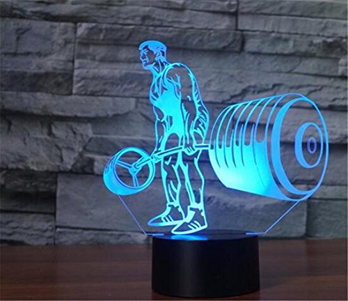 Figurine Weight (MUEQU LED Night Light 3D Illusion Bedside Table Lamp,7 Colors Changing Sleeping Light,Creative Decoration USB Touch Desk Lamp Gift for Kids Christmas Toy Gift Home Office Decorations (Weightlifting))