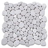 #3: Carrara Mix Cinderalla Grey Marble River Rocks Pebble Stone Mosaic Tile Tumbled