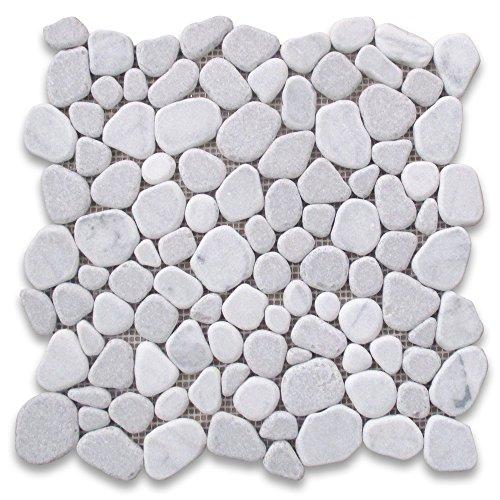 (Carrara Mix Cinderalla Grey Marble River Rocks Pebble Stone Mosaic Tile Tumbled)