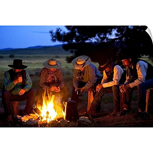 CANVAS ON DEMAND Group of Cowboys Around A Campfire Wall Peel Art Print, 30