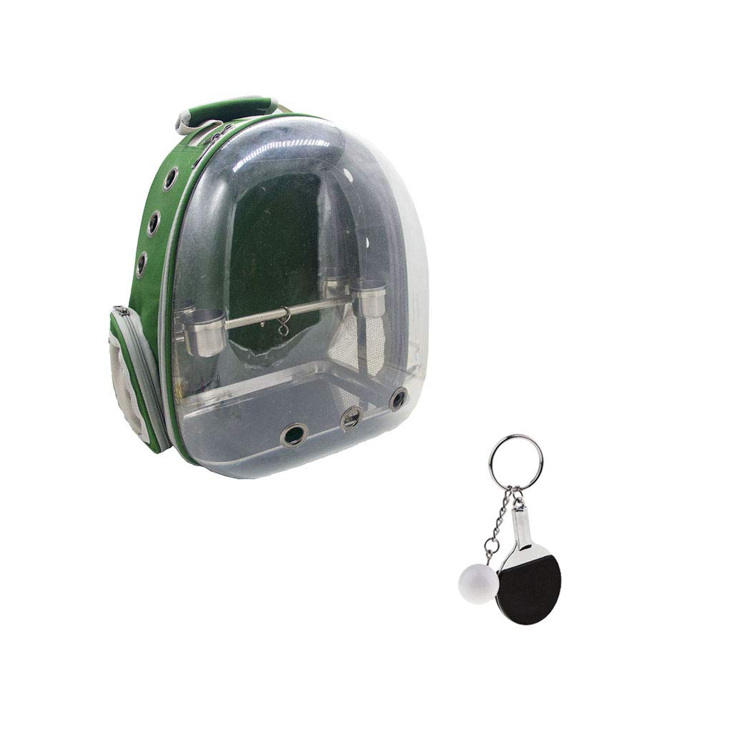 FLAMEER 3 in 1 Bird Parred Backpack Transparent Carrier Green Portable Outdoor Travel & Stainless Stand Feeder & Keychain