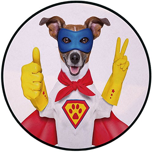 Printing Round Rug,Superhero,Super Puppy Hero Dog in Cape and Mask Costume Humor Funny Cute Picture Decorative Mat Non-Slip Soft Entrance Mat Door Floor Rug Area Rug For Chair Living Room,Red Yellow R]()
