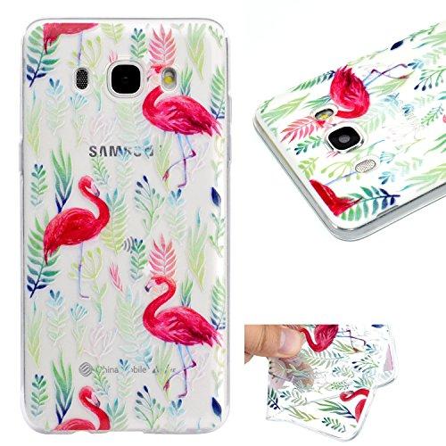 mokyo Samsung Galaxy J72016/j710funda, antigolpes Niedlich patrón suave transparente Gel TPU Funda de silicona con [libre Stylus Lápiz] antiarañazos, antiarañazos de ultra fina goma Rubber Funda tra Rosa Flaming