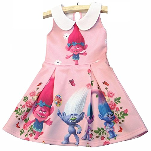 Pink Belle Costumes (Hitmebox Trolls Little Girls' Belle Printed Dress Princess Cartoon Party Costume)