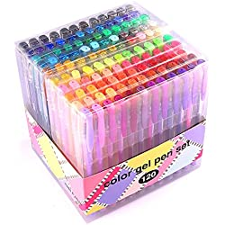 Gel Pens for Adult Coloring innhom 120 Colors Gel Pen Set for Adult Coloring Books Crafting Doodling Scrapbooking Drawing- Glitter Metallic Pastel Neon Swirl Standard Colors with Case