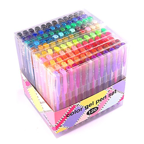 Gel Pens for Adult Coloring innhom 120 Colors Gel Pen Set for Adult Coloring Books Crafting Doodling Scrapbooking Drawing- Glitter Metallic Pastel Neon Swirl Standard Colors with Case ()